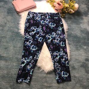 Ann Taylor Blue & Black Cropped Ankle Pant Size 8P